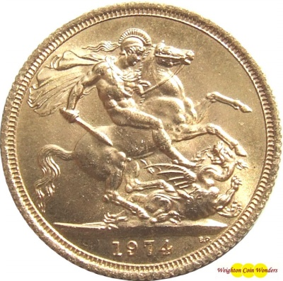 1974 QUEEN ELIZABETH II Gold Sovereign